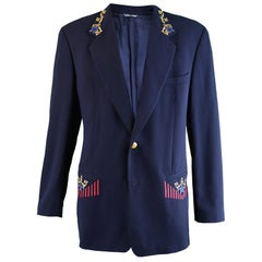 Byblos Men's Vintage Navy Blue Embroidered Wool Blazer Jacket, 1980s