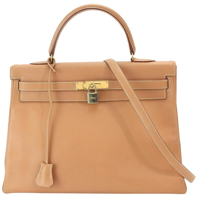 Hermes Kelly 35 Tan Leather Top Handle Satchel Shoulder Tote Bag  For Sale