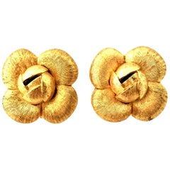 90'S Brushed Gold Plate Abstract Flower Earrings By, St. John