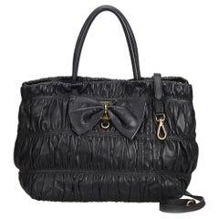 Prada Black Gathered Leather Bow Satchel