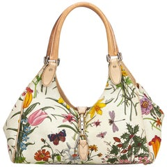 Gucci White Flora Jackie Shoulder Bag