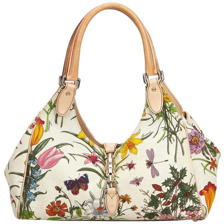 Gucci White Flora Jackie Shoulder Bag