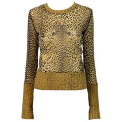 Jean Paul Gaultier Cheetah Print Long Sleeve Top with Angora Trim Size L