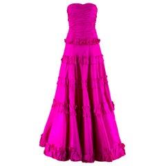 Oscar de la Renta vintage couture pink silk-taffeta gown US 6