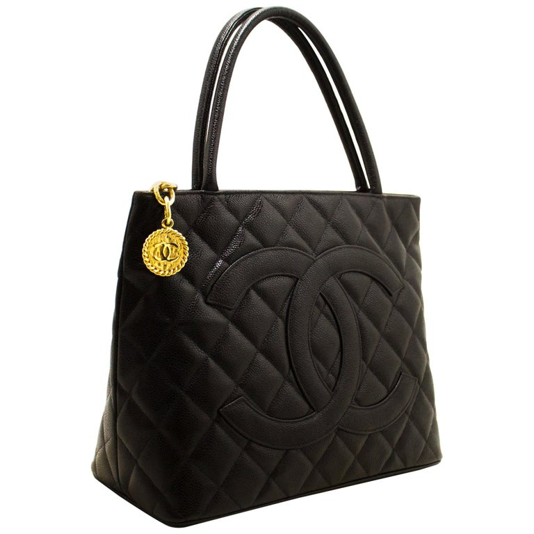 7eb38e557505 CHANEL Gold Medallion Caviar Shoulder Shopping Tote Bag Black For Sale