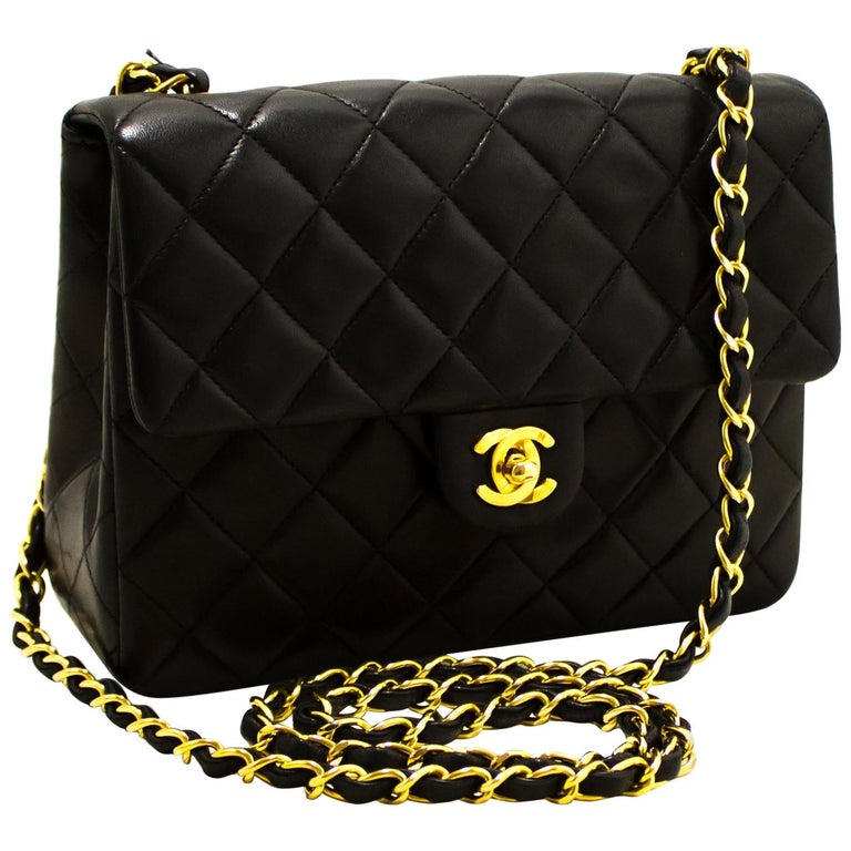 d5d2043355bf CHANEL Mini Square Small Chain Shoulder Crossbody Bag Black Flap For Sale