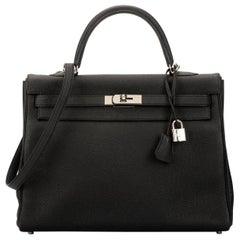 Hermes Kelly 35 Retourne Black Togo Bag