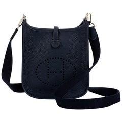 New in Box Hermes Mini Evelyne Blue Nuit Crossbody Bag
