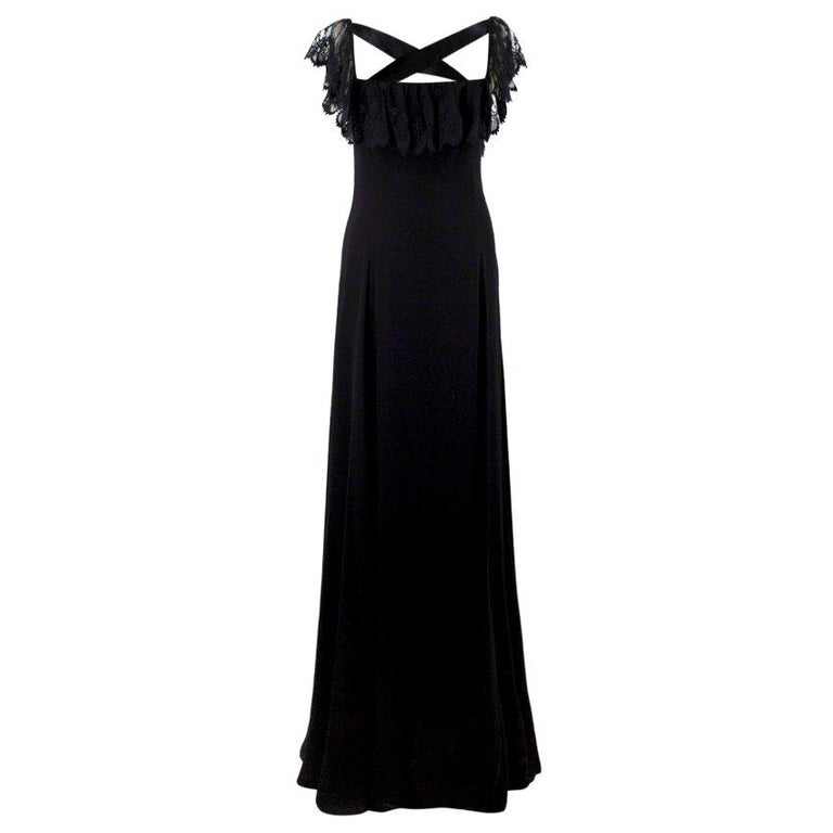 Valentino Black Lace Ribbon Tie Gown US 6