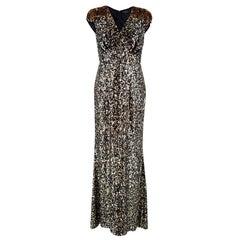 Jenny Packham Black & Gold Sequinned Silk Gown US 10