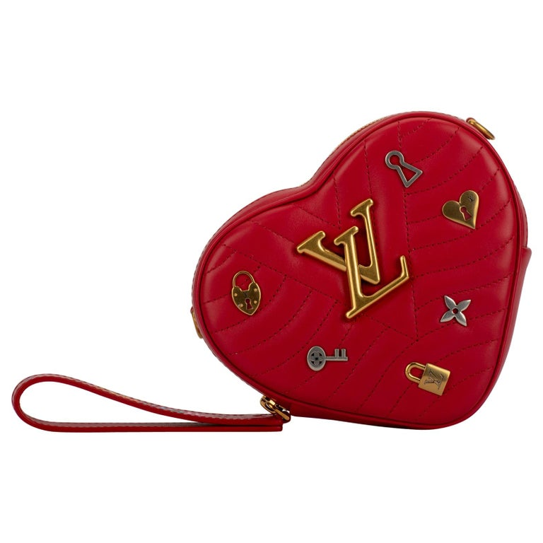 12ab4332b894 New in Box Vuitton Limited Edition Red Heart Charm Handbag Clutch Belt Bag  For Sale