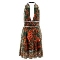 Valentino Green Print Halterneck Dress US 6