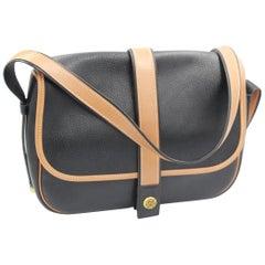 Vintage Hermes Noumea Messeger Bag in Black and Brown Leather