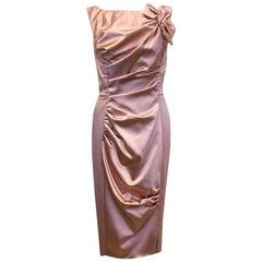Nina Ricci Pink Satin Look Dress US 6
