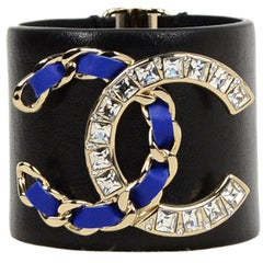 Chanel 2018 Black Leather Cuff W/ Crystal/Blue Leather Laced CC