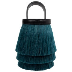 Hermes Toupet Bag Fringed Mini Bucket Horse Hair Vert Fonce Black Evercalf