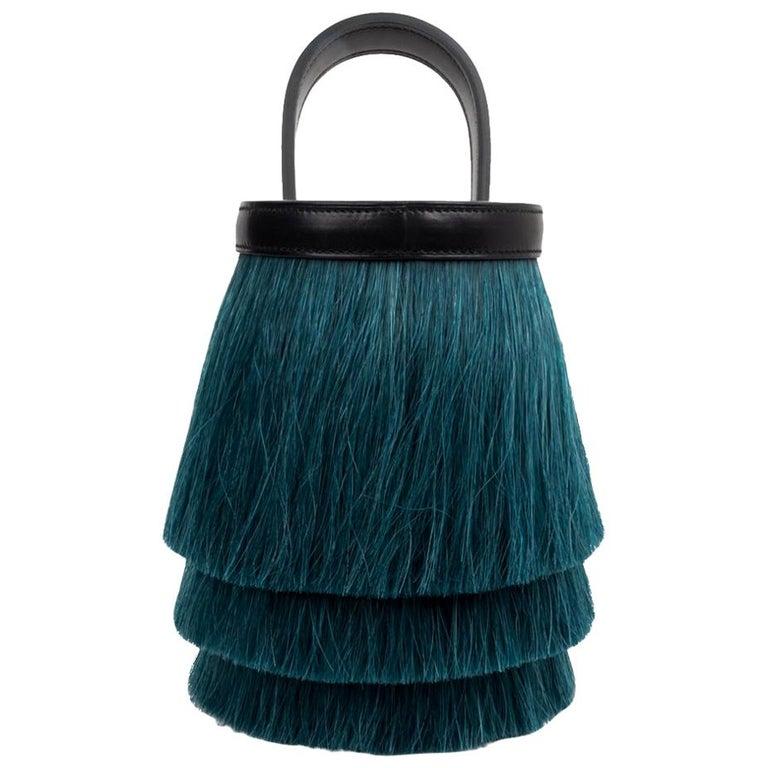 Hermes Toupet Bag Fringed Mini Bucket Horse Hair Vert Fonce Black Evercalf For Sale