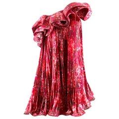 Stella McCartney Printed Satin Ruffle Dress US 4