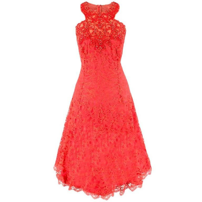 53681c25 Marchesa Notte Red Lace Embellished Dress US 10 For Sale at 1stdibs