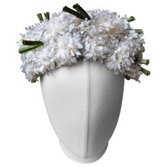 1960's Hat Fully covered in Small White Silk Flowers By Maison de Bonneterie