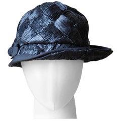 Asymmetrical 1940's Vintage Black Raffia Straw Hat