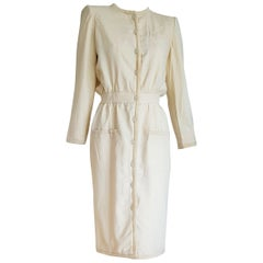 "VALENTINO ""New"" White Cream Silk and Wool Silk Lined Buttons Dress - Unworn"