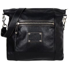 Gucci Black Leather Zip Top Shoulder/Messenger Bag