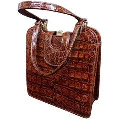 Vintage Carmel Crocodile Skin Handbag