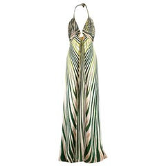 Roberto Cavalli abstract-print silk-satin halterneck gown US 6