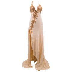 Bespoke Embroidered Cream Gown US 4