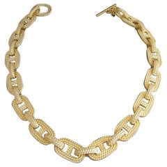 Estate GIVENCHY Heavy Knotted Rope Link Vintage Gold Tone Choker Necklace