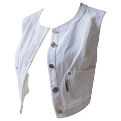 Chanel White Cotton Denim Vest with Silver Buttons