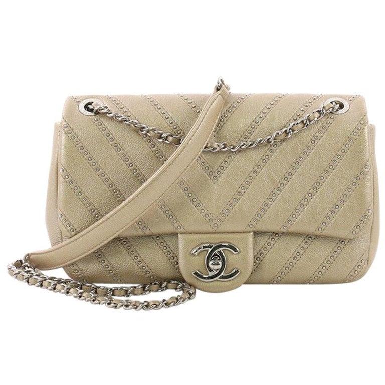 09edf36bf13919 Chanel Stud Wars CC Chain Flap Bag Studded Chevron Calfskin Small For Sale