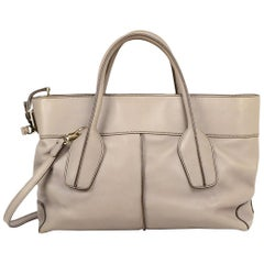 TOD'S Grey Leather Bauletto Tote Bag W/ Strap