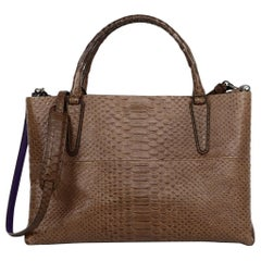 Coach Brown Leather Embossed Snakeskin Tote Bag W/ Strap