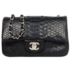 Chanel Black Python Classic Mini Flap Crossbody Bag w/ Silvertone Hardware