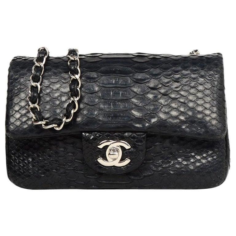 25470b966bc7 Chanel Black Python Classic Mini Flap Crossbody Bag w/ Silvertone Hardware  For Sale