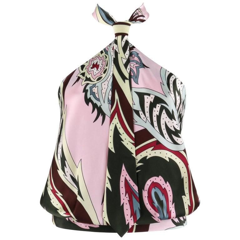 """ALEXANDER McQUEEN S/S 2001 """"Voss"""" Pink Paisley Print Silk Necktie Halter Top For Sale"""
