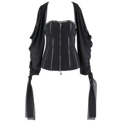 "ALEXANDER McQUEEN A/W 2003 ""Scanners"" Silk & Leather Cold Shoulder Corset Top"