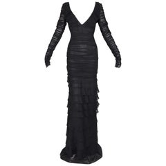 S/S 2003 Gucci Tom Ford Sheer Black Plunging Ruched L/S Long Gown Dress