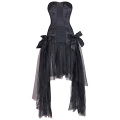 C. 1995 Chanel Ballerina Sheer Black Mesh Bustier Dress w/ Tulle & Bows
