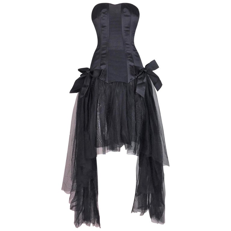 C. 1995 Chanel Ballerina Sheer Black Mesh Bustier Dress w/ Tulle & Bows For Sale