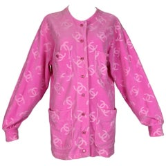 S/S 1996 Chanel Runway Pink Velvet Logo Monogram Jacket Dress