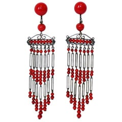 Circa 1920s French Art Deco Red Bead Dangling Chandelier Earrings