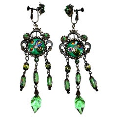 Green Czech Glass Long Dangling Chandelier Earrings With Screw-Clip Back