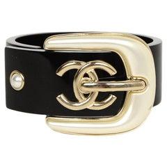 Chanel 2019 Black Resin CC Pearl Buckle Cuff Bracelet