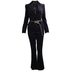 Tom Ford for Gucci Dark Purple Velvet Pant Suit with Leather Belt, Fall 2004