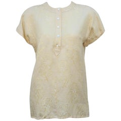Escada 1980's Pale Yellow Linen & Silk Jacquard Top