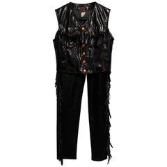 Gaultier Jeans Vinyl Cowboy Vest and Pants Ensemble