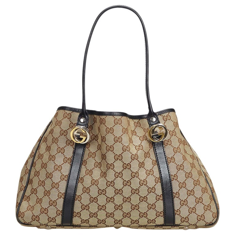 7c17d27b3ae708 Gucci Brown GG Jacquard Twin Tote Bag For Sale at 1stdibs